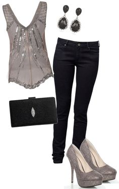 I bought sexy silver pointed heels, black skinny jeans and need a silver top or black top, black clutch or silver clutch.
