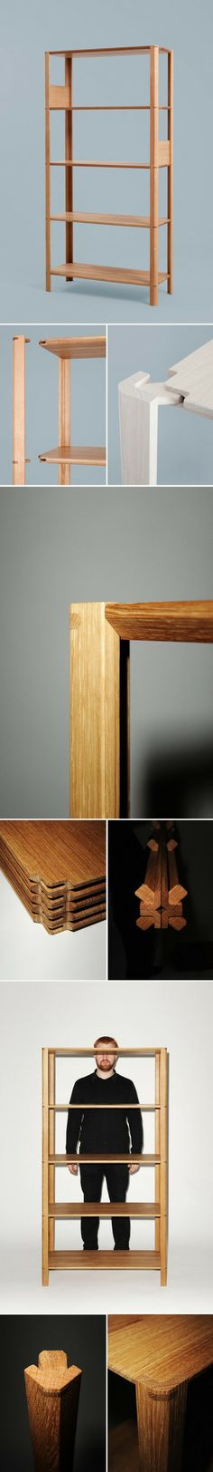 卡塞尔大学家具专业教师Steffen Kehrle最近设计了一款完全使用榫卯结构,还可以自由组装拆卸的置物架,名为Plug Shelf。