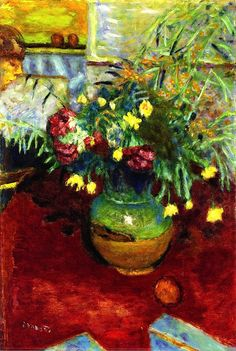 Vase of Flowers with Figure / Pierre Bonnard - 1928