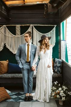This bohemian inspired wedding will take you back with its retro vibes! Marcucci Photography captured the fun and carefree wedding inspo. Western Wedding Dresses, Bohemian Wedding Dresses, Sexy Wedding Dresses, Wedding Suits, Bridal Dresses, Bohemian Bride, Vintage Bohemian, Wedding Hair, Wedding Ideias