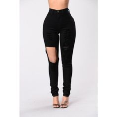 Fade Away Jeans Black ($23) ❤ liked on Polyvore featuring jeans, destroyed jeans, destroyed skinny jeans, high-waisted skinny jeans, ripped jeans and skinny jeans