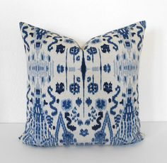 Double sided, Navy, Blue and Oatmeal Ikat Decorative Pillow Cover