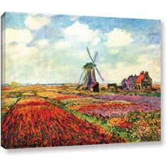 Claude Monet Windmill Wrapped Canvas Art, Size: 18 x 24, Multicolor