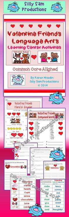 $ Common Core Aligned Color Versions for a Center or Black-line Language Arts Skills with fun Valentine Pictures **Compound Words **Complete Sentences or Phrases **Valentine Vocabulary **Nouns, Verbs and Adjectives Valentine Activity (Group Lesson or Center Activity) Print in Color for RTI or Special Needs Variation **Sentence building using Valentine Nouns, Verbs and Adjectives **Descriptive Writing Prompt **How-To Writing **Bonus Page of Valentine Graphics for decorating