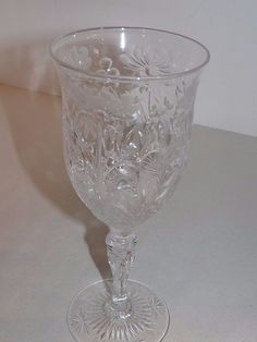 (9) RARE HTF Stevens & Williams Engraved Cut Rock Crystal Water Goblets Antique