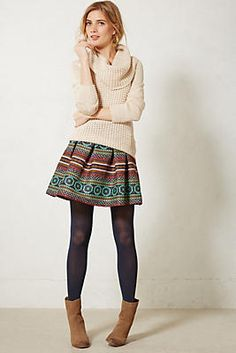 brocade skirt and a cozy jumper