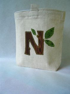 Reusable Sandwich or Snack Bag, Customized Tree Initial