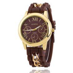 Hot Fashion Silicone Geneva Watches Fashion Women Chain Watch Ladies Dress Wrist Watches Relogio Feminino