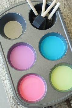 Sidewalk paint: 1 part cornstarch (1 c.), 1 part water (1 c.), food coloring, sponge brushes, mix cornstarch and water, add food coloring and mix!