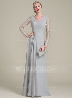 [US$ 116.99] A-Line/Princess V-neck Floor-Length Chiffon Lace Mother of the Bride Dress With Ruffle Beading Sequins (008102697)