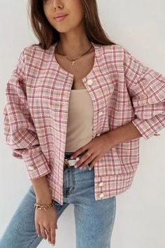 Plaid Jacket, Single Breasted, Jackets For Women, Long Sleeve, Casual, Sleeves, Fashion Design, Clothes, Blazers