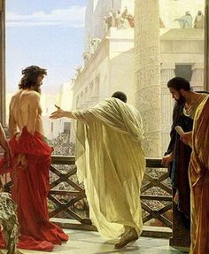 "First Station: Jesus is Condemned. The artist's view from behind gives me a new perspective. Jesus was condemned for MY sins and I was a true ""insider"" to that fateful decision. But by the mercy of God, I'm an ""insider"" to the purity of His grace."