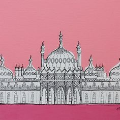 The Royal Pavilion, Brighton - Pink Palace by artyadz on Etsy: The Pavilion is a former royal residence. It is often referred to as the Brighton Pavilion and was built by the British in the Indo-Saracenic style prevalent in India for most of the 19th century