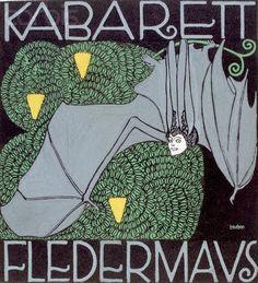 Wiener Werkstätte :: Kabarett Fledermaus, 1907 Cabaret, Graphic Design Illustration, Graphic Art, Illustration Art, Vintage Illustrations, Klimt, Goodbye To Berlin, Bts Design Graphique, Art Nouveau