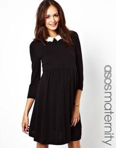 ASOS Maternity | ASOS Maternity Knitted Skater Dress with Peter Pan Collar at ASOS