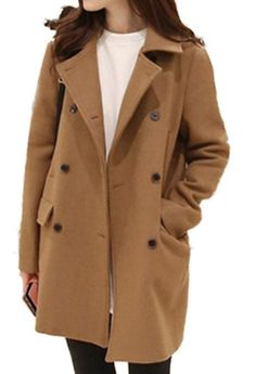 Women's Double Breasted Wool Cocoon Coats with Procket QMHY7726(Camel,X-Small)