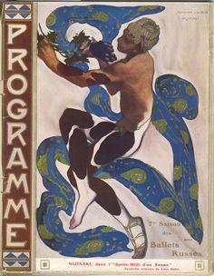 Nijinsky's Faun Costume in 'L'Apres Midi d'un Faune' by Claude Debussy from the front cover of the programme for the season of the 'Ballets Russes', 1912 (colour litho) Wall Art Prints by Leon Bakst Art And Illustration, Illustrations, Poster Art, Kunst Poster, Russian Ballet, Russian Art, Ballet Russo, Afternoon Of A Faun, Art Nouveau