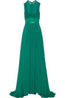 Elie Saab Stretch silk-blend chiffon gown | NET-A-PORTER