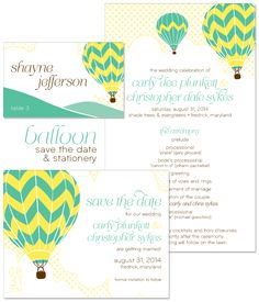 Hot Air Balloon Save the Date and Wedding Day Stationery from The Green Kangaroo.