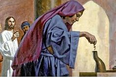 """November 21st - Luke 21:1-4: When Jesus looked up he saw some wealthy people putting their offerings into the treasury and he noticed a poor widow putting in two small coins. He said, """"I tell you truly, this poor widow put in more than all the rest; for those others have all made offerings from their surplus wealth, but she, from her poverty, has offered her whole livelihood."""""""