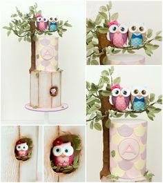 Cake with birds Ladybug Cakes, Owl Cakes, Cupcake Cakes, Fruit Cakes, Fancy Cakes, Cute Cakes, Owl Cake Birthday, Single Tier Cake, Gravity Cake
