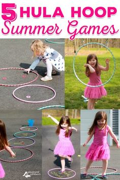 With the Summer Olympics just weeks away, let your kids take to the backyard to compete in their own Summer Hula Hoop Games! | Outdoor Fun | Backyard Games | Olympics | Summer | Gross Motor | Play | Toddler | Preschool | Games for Kids | Kids Activities