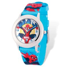 Marvel Spiderman Blue Band Time Teacher Watch