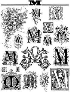 Fancy 'M' Monograms Script Lettering, Calligraphy Letters, Lettering Design, Logo Design, Monogram Fonts, Monogram Letters, Letters And Numbers, Illuminated Letters, Illuminated Manuscript