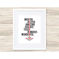 Teacher personalised typographic print