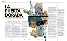 De Fondo: La Puerta Dorada #MinimalDesign #Minimal #RevistaMarvin #Marvin #ArtDirection #Magazine #EditorialDesign #Editorial #GraphicDesign #lapuertadorada #eua #jauladeoro #collage #editorialcollage #americandream #newyork #statueofliberty #trump #latindream #mexicandream