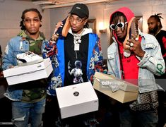 Takeoff, Offset and Quavo of The Group Migos attend the Migos In Concert at Center Stage on January 2017 in Atlanta, Georgia. Boy Celebrities, Celebs, Meek Mill Album, Migos Quavo, Lil Yachty, January 28, Lil Uzi Vert, Hip Hop Artists, Album Releases