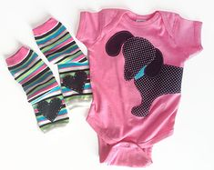 Wiener Dog Dachshund Baby Bodysuit with Heart Baby Leg Warmers