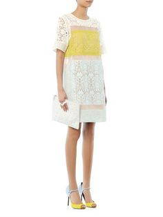 Rebecca Taylor Colour-block lace dress & Pierre Hardy Suede colour-block sandals