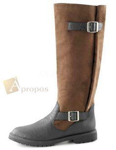 Unisex Stiefel Leder 3,8cm Damen Herren Venice Schnallen Braun Apropos