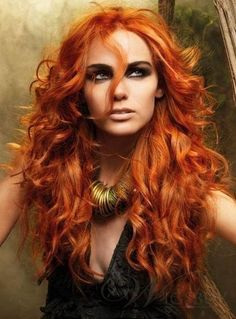 New Long Hairstyle Fashion Curly Orange-red 100% Human Hair Custom Lace Front Wig about 24 Inches