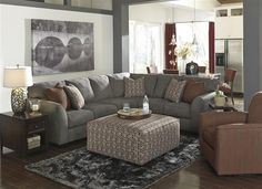 Shop Doralin Contemporary Steel Fabric Living Room Set w/Sectional with great price, The Classy Home Furniture has the best selection of to choose from Benchcraft Furniture, Belfort Furniture, Living Room Furniture, Furniture Stores, Diy Living Room Decor, Cozy Living Rooms, Living Room Designs, Home Decor, Cottage Living