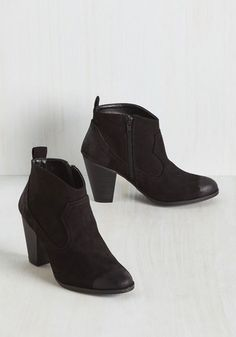 No matter where you want to go, let these rockin' black booties will take you there in terrific style. Flaunting their western-inspired, topstitched design and vegan faux-suede construction - with glossy distressing on the toe and heel - your fashion taste will take this classic pair from beaten path beautiful to far-flung fab!