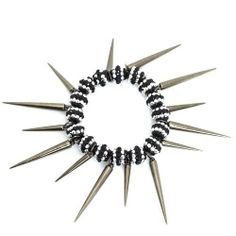 Spike Stretch Bracelet; Gunmetal; Black And Silver Rhinestones; Stretch Eileen's Collection. $19.99