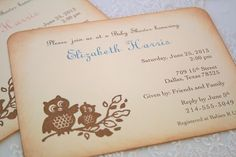 Owl Invitation Baby Shower Christening by SeasonalDelightsBaby, $2.50