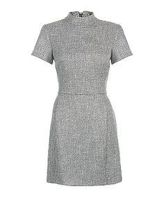 Grey Flecked High Neck Skater Dress  | New Look