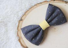 Charcoal/yellow fashion fabric baby bow headband, fabric baby bow hair clip, summer/spring bow, big bow headband, skinny elastic bow band on Etsy, $7.99