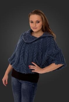 Handmade blue #knitted #poncho for women. Style fall fashion @roressclothes clothing style closet ideas. www.roress.com apparel ladies #wool outfit