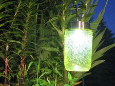 Solar lamp made out of mason jars.