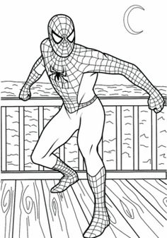 Spiderman Standing, Spiderman, Coloring Pages - Free Printable Ideas from Family Shoppingbag.com