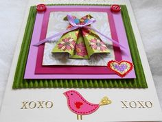 Mother's Day Card, Happy Mothers Day, Gift Card, Origami Dress, Blank Card, Paper Dress, Handmade Card, XOXO Card
