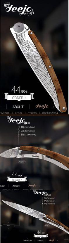 Ultra-light knife in 420 stainless steel. Secure liner lock system. Belt clip. Solid juniper wood handle slab. #Deejo #Tattoo