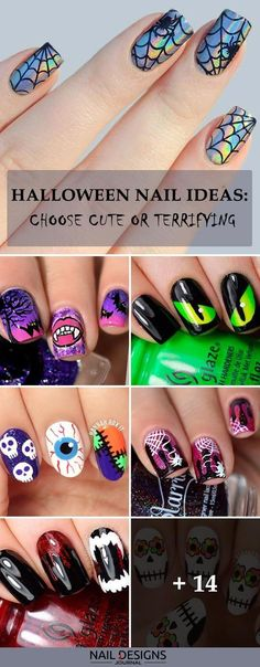 50 Halloween Nails: Spook Designs to Terrify and Delight Your Friends When the time is running out and Halloween is just a few hours away, there are pretty easy but fun suggestions for your mani. Just look at these fantastic nail designs! Nail Art Designs, Fingernail Designs, Short Nail Designs, Simple Nail Designs, Toe Nail Designs For Fall, Halloween Toe Nails, Halloween Nail Designs, Christmas Nail Designs, Halloween Halloween