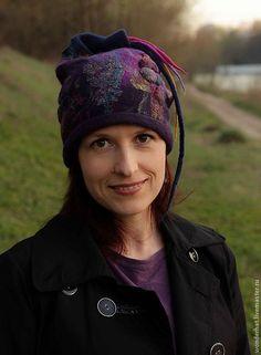 """Купить Шапка """"Таинственный остров"""" - тёмно-фиолетовый, абстрактный, валяная шапка, шапка из войлока"""