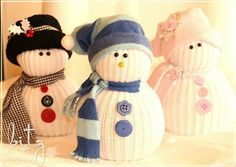 A cute sock snowman makes an awesome present for your girl friends. Recycle your old socks and buttons to create a unique sock snowman for them. Sock Snowman, Make A Snowman, Cute Snowman, Snowman Crafts, Christmas Snowman, Xmas, Diy Christmas, Halloween Displays, Halloween Themes