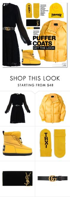 """Stay warm: puffer coats"" by katymill ❤ liked on Polyvore featuring MICHAEL Michael Kors, Chen Peng, Kenzo, Kate Spade, Yves Saint Laurent, Gucci, M.A.C, pufferjacket, puffer and puffercoats"